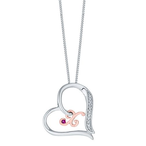 Silver & 9ct Rose Gold Diamond Set Initial X Pendant - Product number 4761766