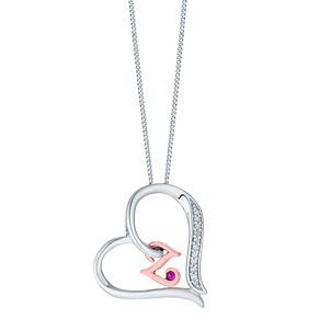 Silver & 9ct Rose Gold Diamond Set Initial Z Pendant - Product number 4761774
