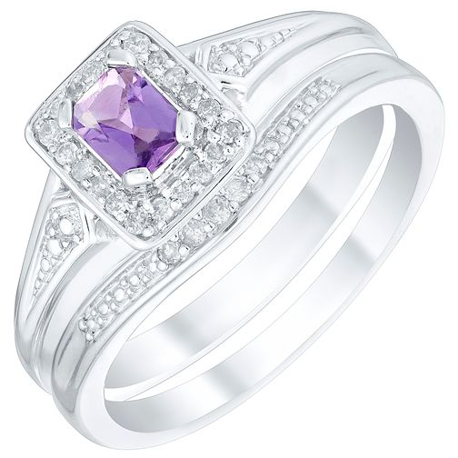 Perfect Fit 9ct White Gold Amethyst 1/10ct Bridal Set - Product number 4763106