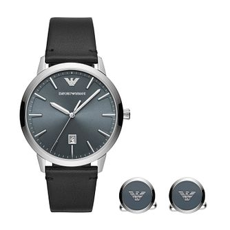 Emporio Armani Men's Black Strap Watch & Cufflinks Set - Product number 4763653
