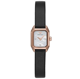 Emporio Armani Ladies' Black Leather Strap Watch - Product number 4763661