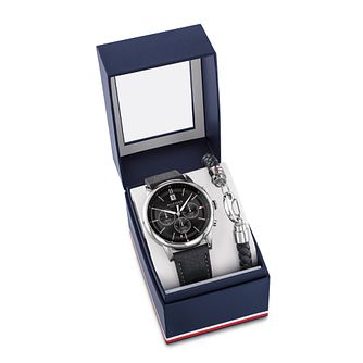 Tommy Hilfiger Kyle Black Leather Watch & Bracelet Gift Set - Product number 4781457