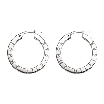Tommy Hilfiger Stainless Steel Crystal Hoop Earrings - Product number 4781546