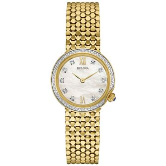 Bulova Ladies' Gold Tone Stone Set Bracelet Watch - Product number 4786165
