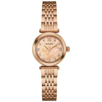 Bulova Ladies' Rose Gold Tone Stone Set Bracelet Watch - Product number 4786564