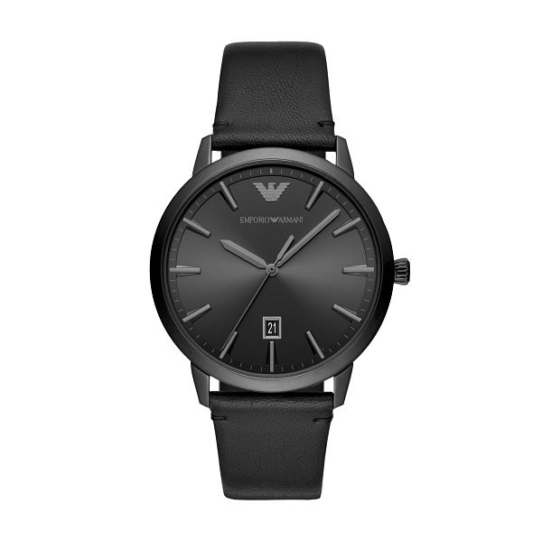 Emporio Armani Men's Black Leather Strap Watch - Product number 4789156