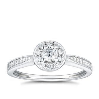 9ct White Gold 1/3ct Diamond Round Halo Ring - Product number 4789881