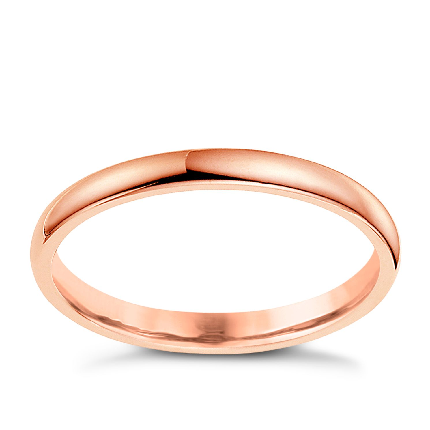 18ct Rose Gold 2mm Extra Heavyweight D Shape Ring - Product number 4790642