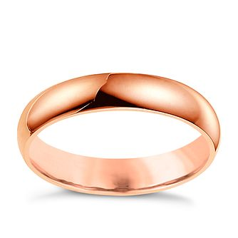 18ct Rose Gold 4mm Extra Heavyweight D Shape Ring - Product number 4791142