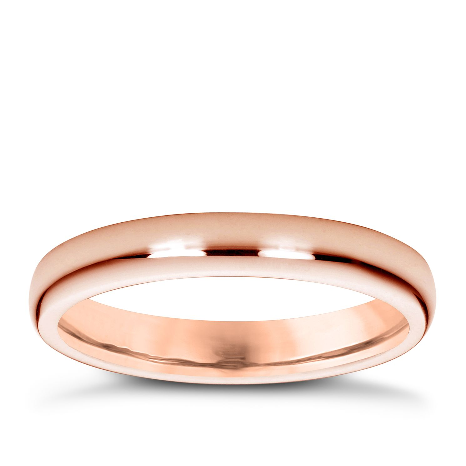18ct Rose Gold 3mm Super Heavyweight Court Ring - Product number 4794842