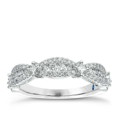 Vera Wang 18ct White Gold 0.45ct Diamond 3 Station Band - Product number 4799879