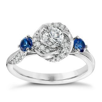 Vera Wang 18ct White Gold 0.58ct Diamond and Sapphire Ring - Product number 4800338