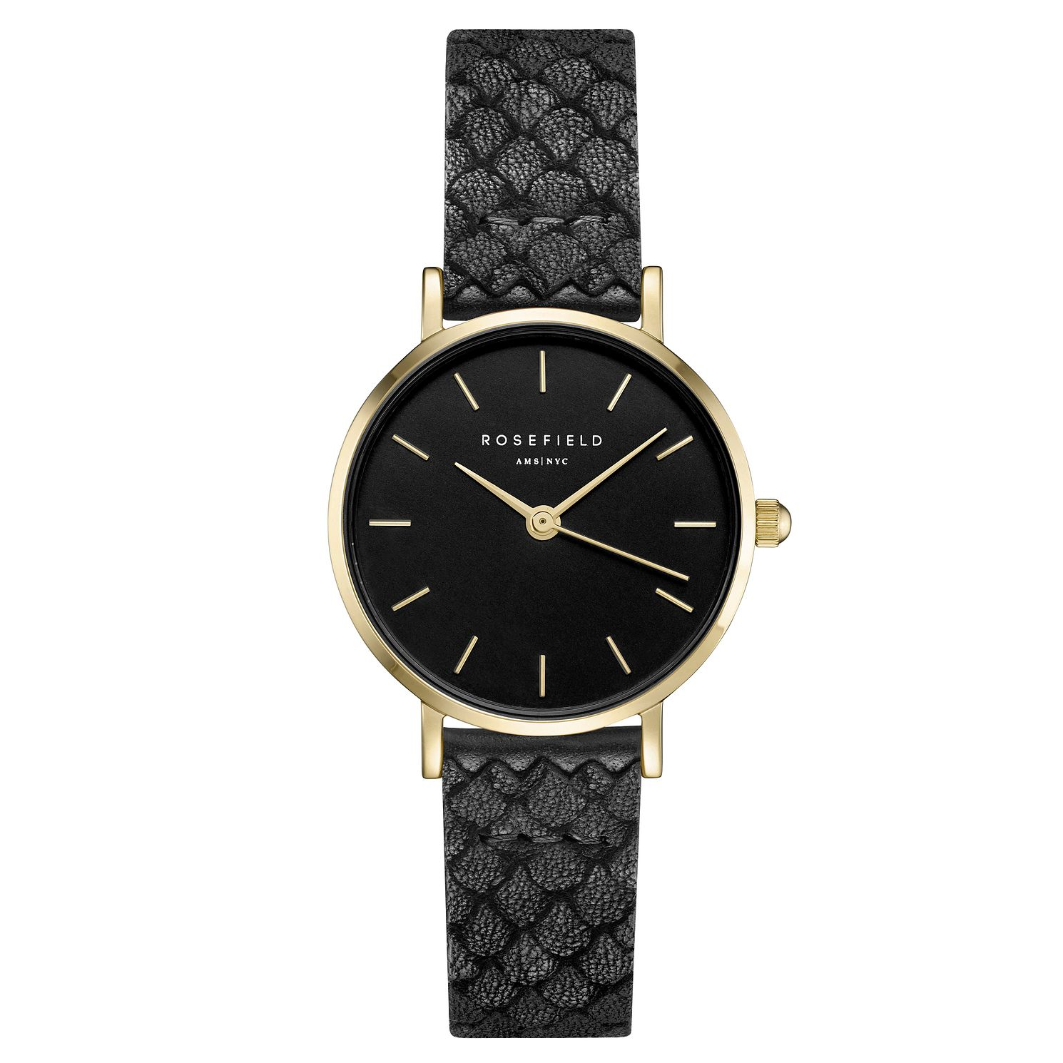 Rosefield Ladies' Black Dial Black Leather Strap Watch - Product number 4801555