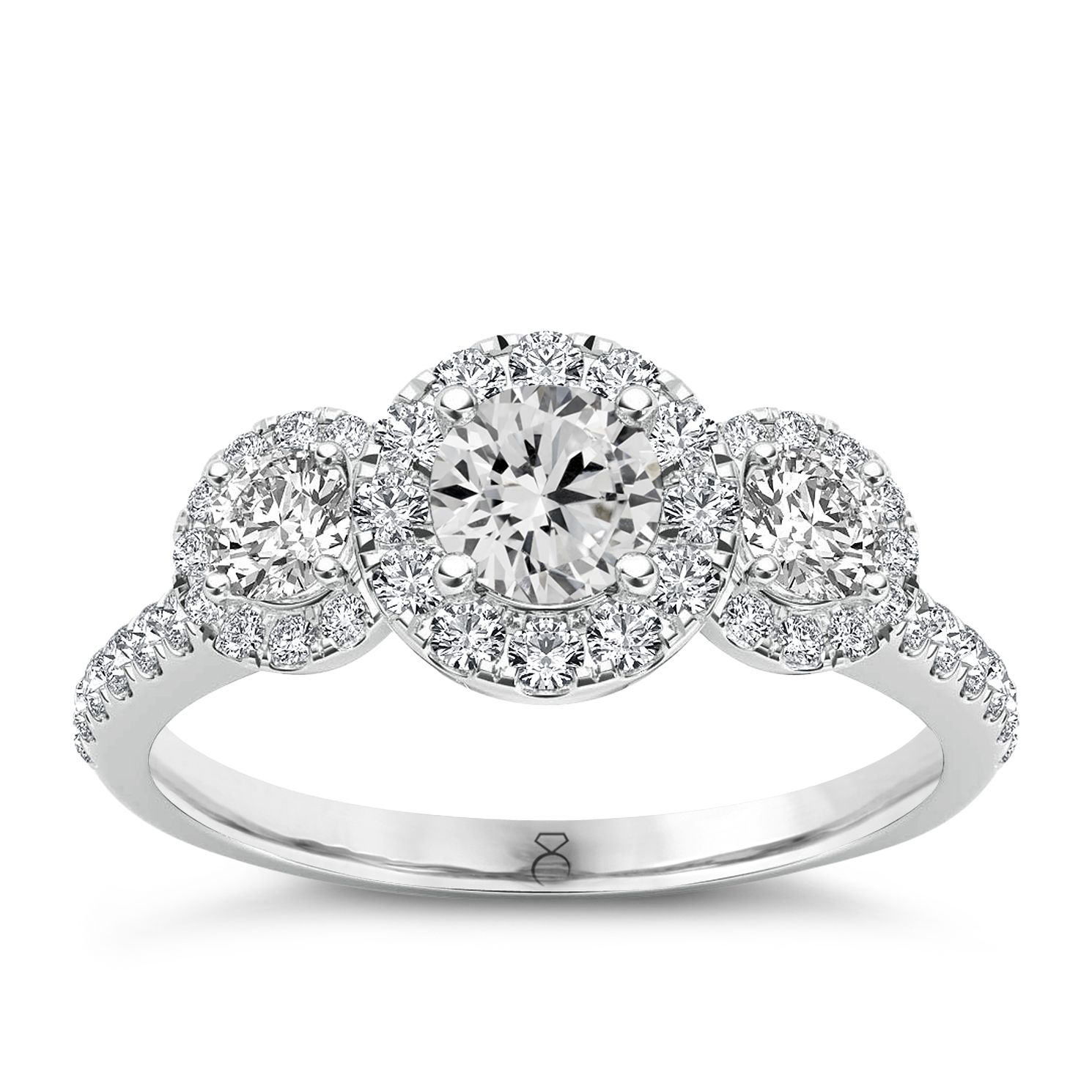 The Diamond Story 18ct White Gold 1ct Diamond Halo Ring - Product number 4802357