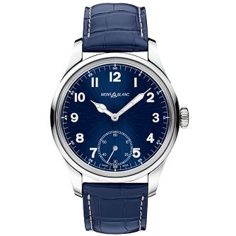 Montblanc 1858 Men's Blue Leather Strap Watch - Product number 4803965
