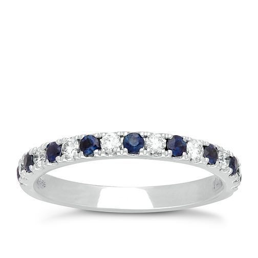 Neil Lane 14ct White Gold Sapphire and 0.23ct Diamond Band - Product number 4805844