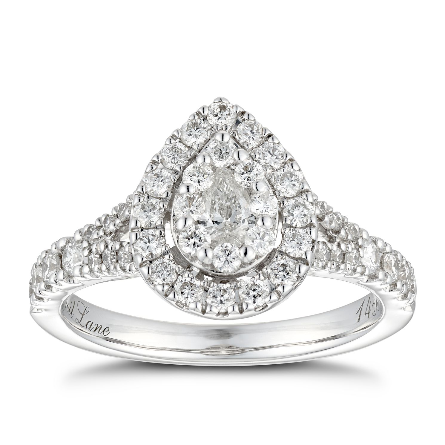 Neil Lane 14ct White Gold 0.81ct Diamond Pear Diamond Ring - Product number 4807235