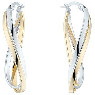 9ct Yellow & White Gold Double Row Twist Hoop Earrings - Product number 4811291