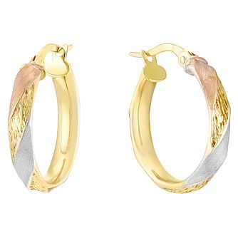9ct 3 Colour Gold Hoop Earrings - Product number 4811410