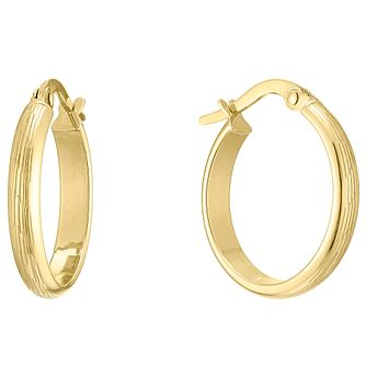 9ct Yellow Gold Engraved Round Creole Earrings - Product number 4811445