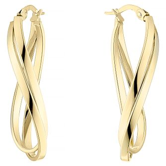 9ct Yellow Gold Double Row Oval Twist Hoop Earrings - Product number 4811542