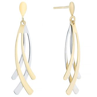 9ct Yellow & White Gold Nouveau Drop Earrings - Product number 4811569