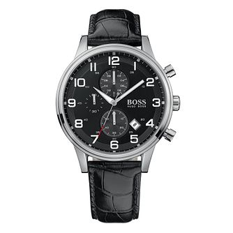 BOSS Aeroliner Men's Black Leather Strap Watch - Product number 4813251