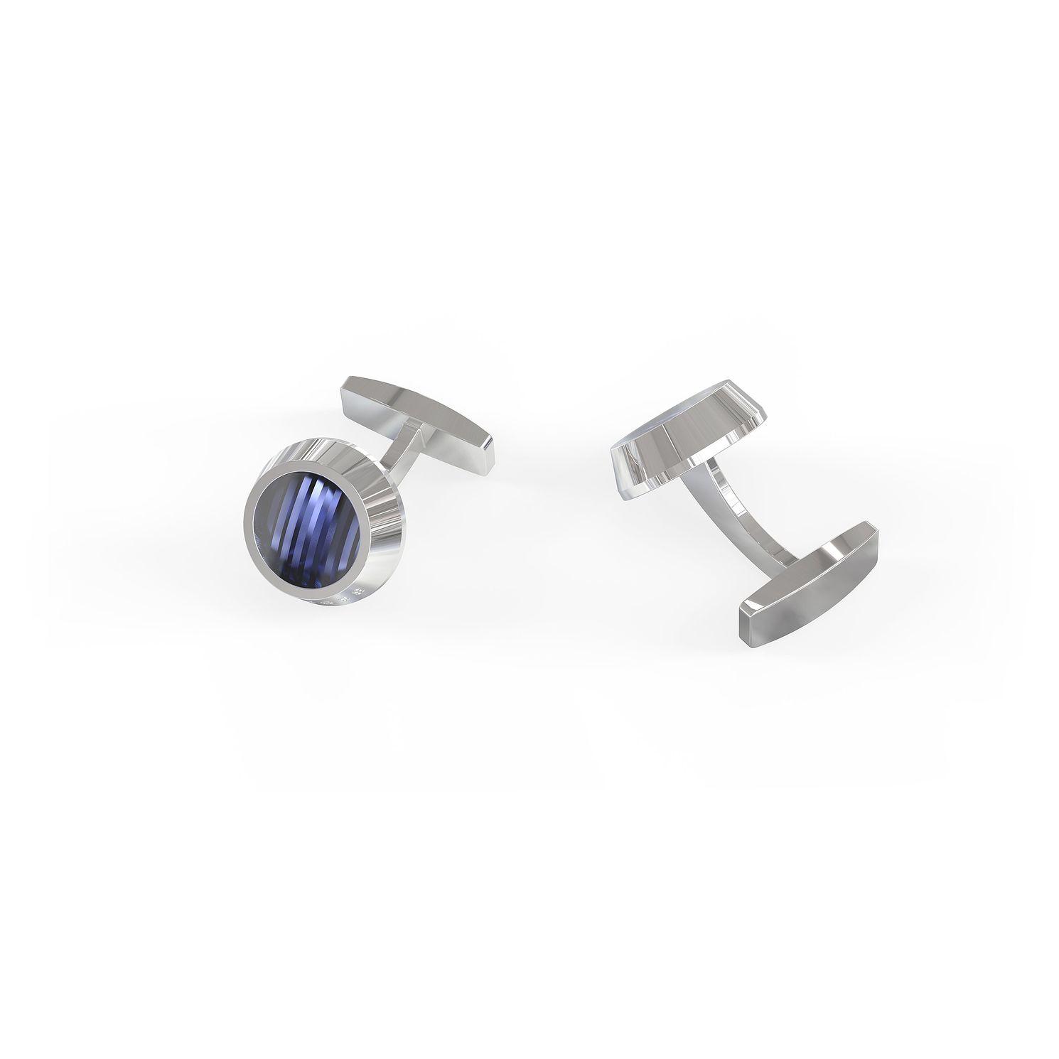 BOSS Harper Men's Silver Tone & Blue Enamel Round Cufflinks - Product number 4813669