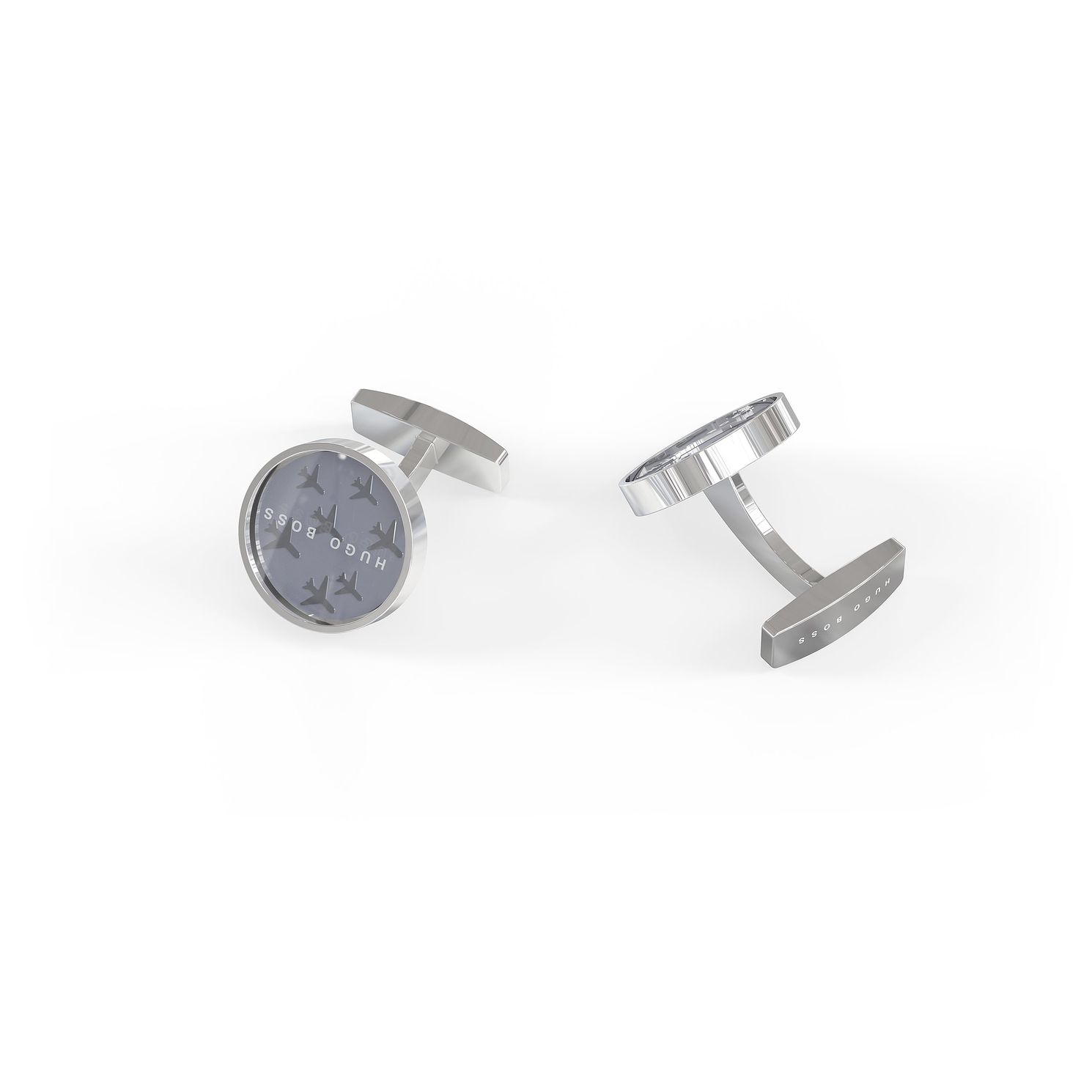 BOSS Traveller Men's Silver Tone Round Cufflinks - Product number 4814061