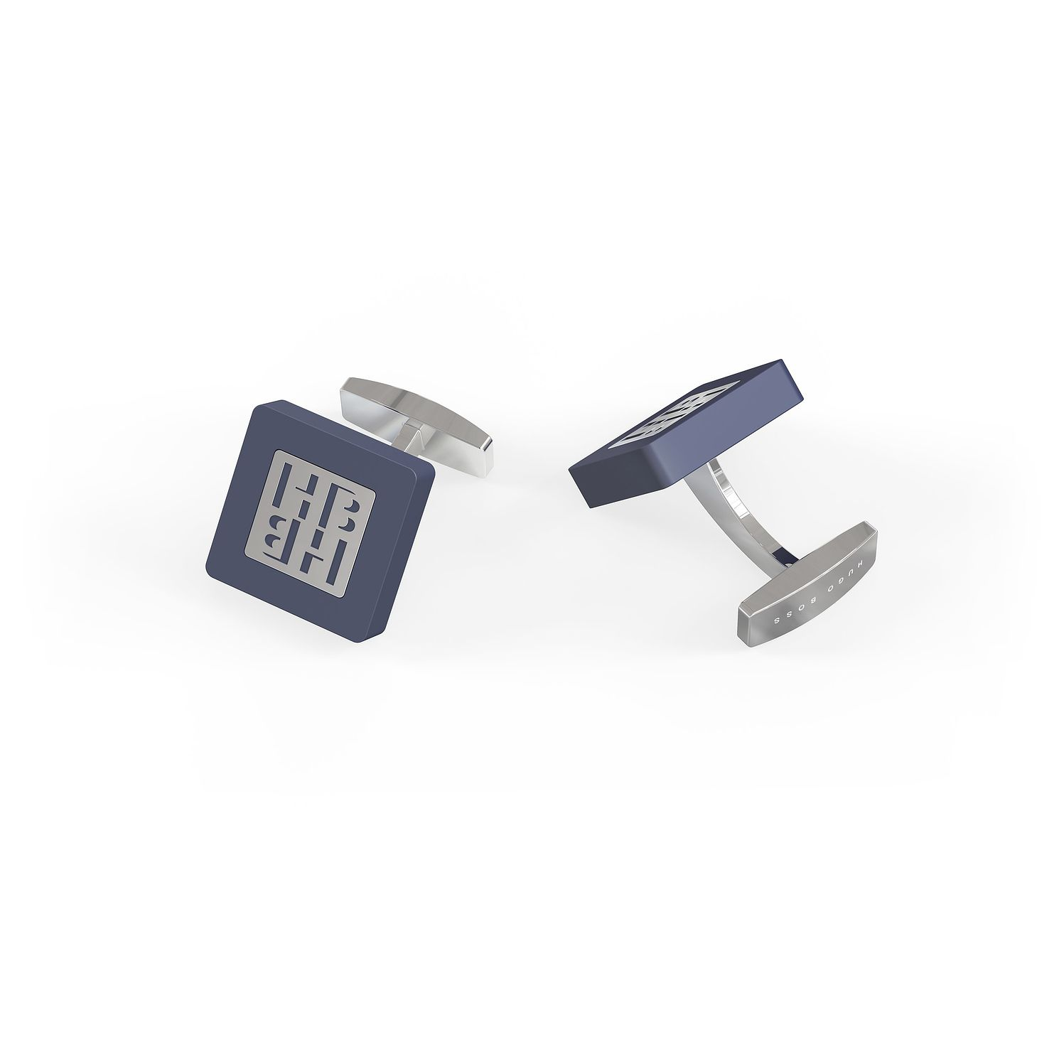 BOSS HB Silver Tone & Blue Enamel Square Cufflinks - Product number 4814533