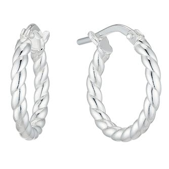 Sterling Silver Rope 10mm Hoop Earrings - Product number 4818792