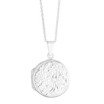 Silver Floral Round Locket - Product number 4818865