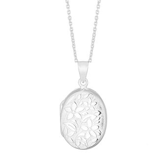 Silver Floral Oval Locket - Product number 4818873