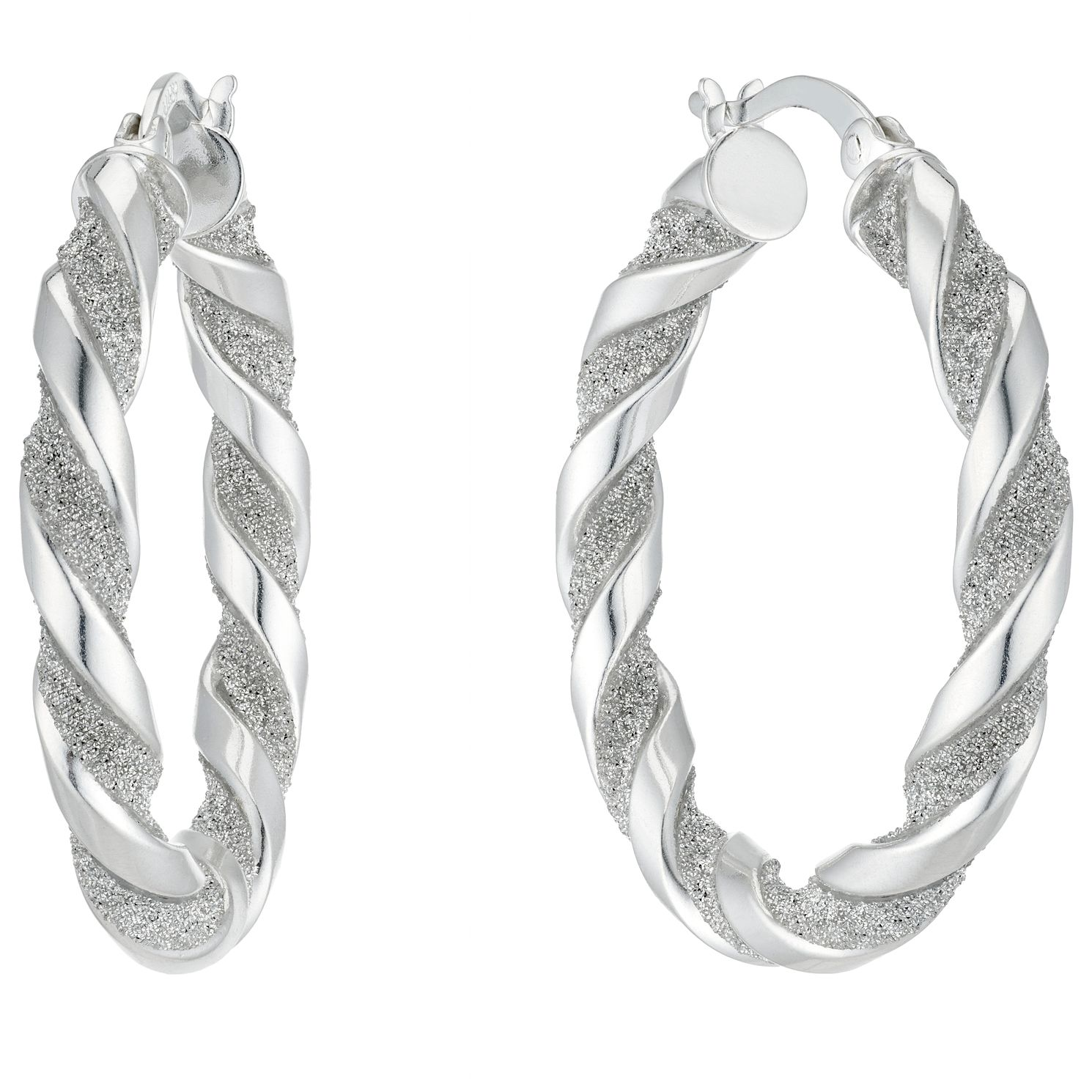 Silver Glitter Twist 23mm Creole Hoop Earrings - Product number 4818954