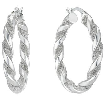 Sterling Silver Glitter Twist 23mm Hoop Earrings - Product number 4818954