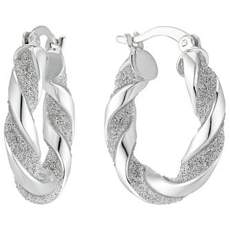 Silver Glitter Twist 13mm Creole Hoop Earrings - Product number 4818970