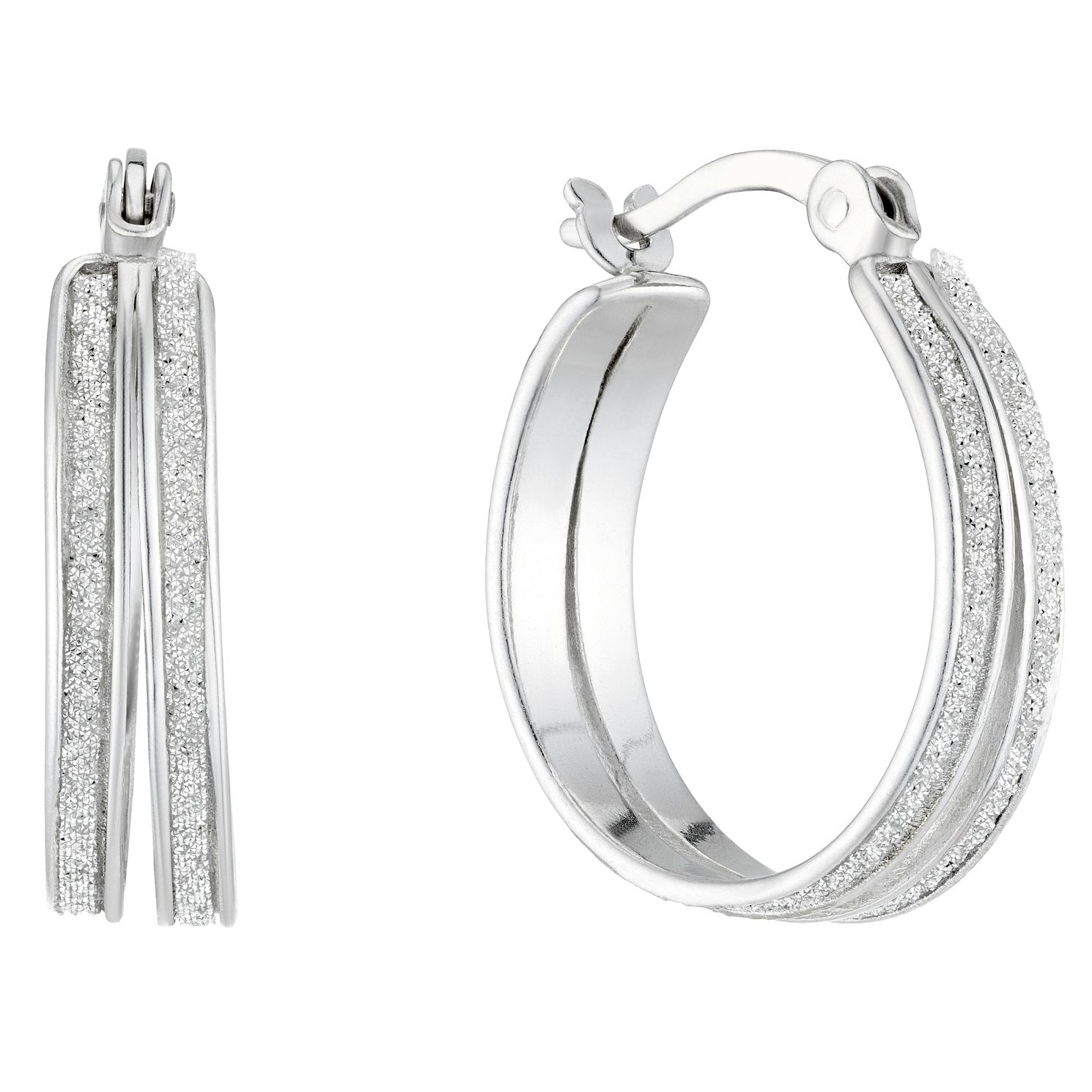 Sterling Silver Glitter Double Row 15mm Hoop Earrings - Product number 4818989