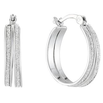 Silver Glitter Double Row 15mm Creole Hoop Earrings - Product number 4818989