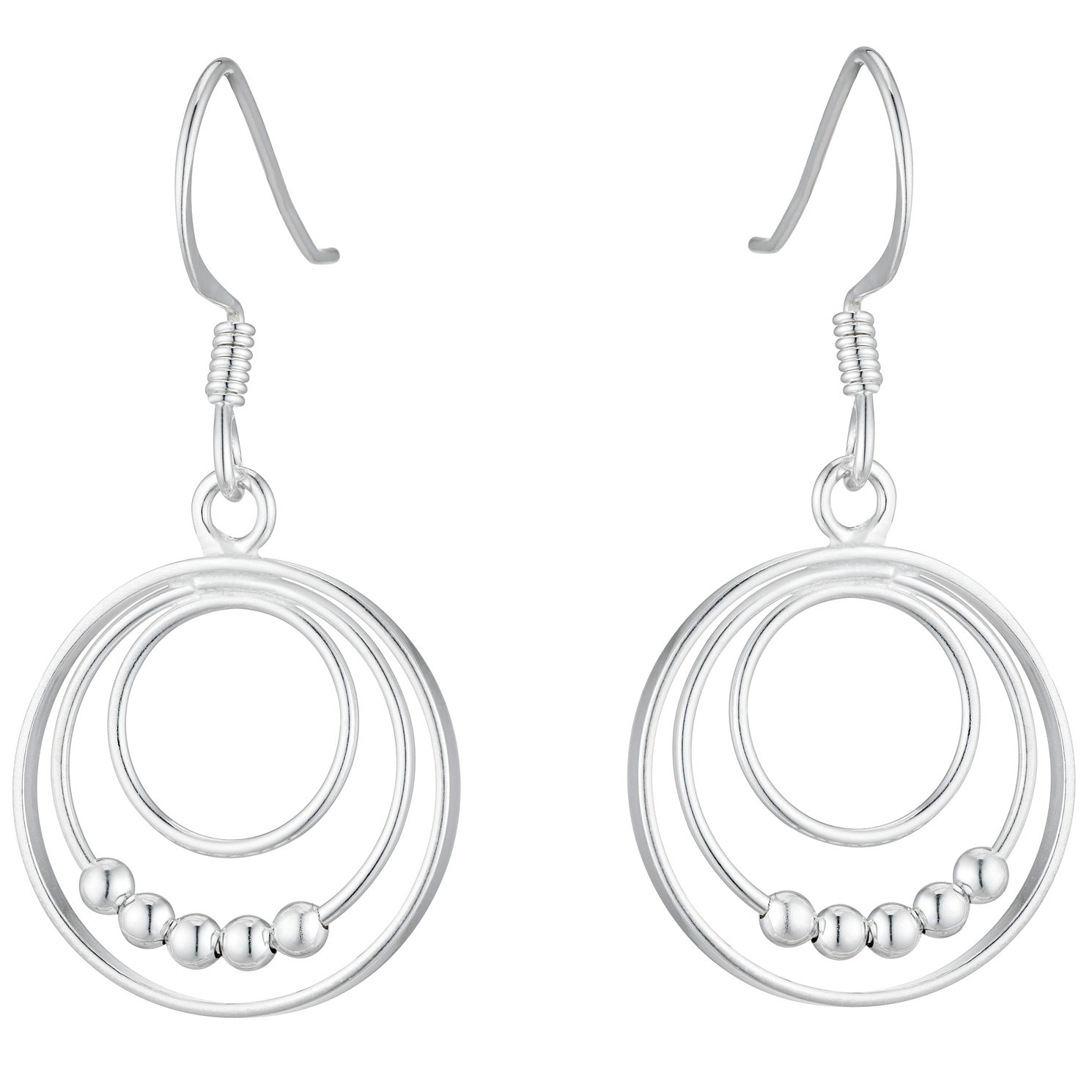Silver Triple Circle Bead Drop Earrings - Product number 4819039