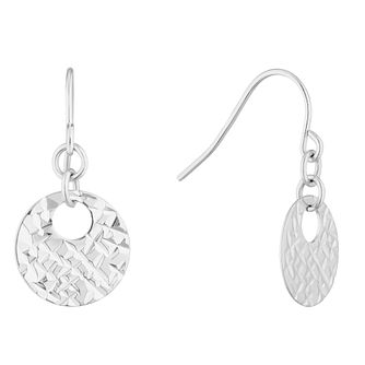 Silver Diamond Cut Disc Drop Earrings - Product number 4819047