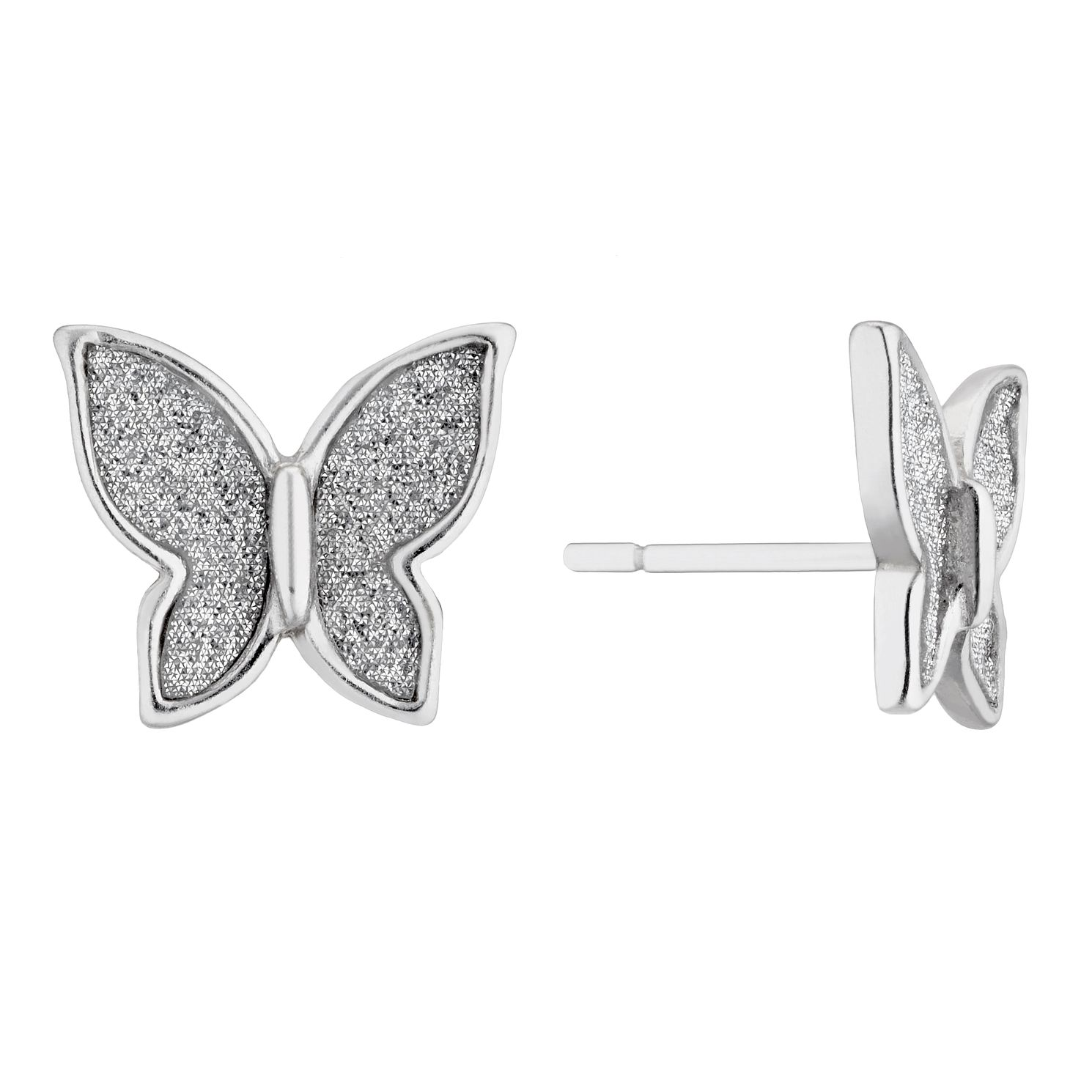 Silver Glitter Butterfly Stud Earrings - Product number 4819063
