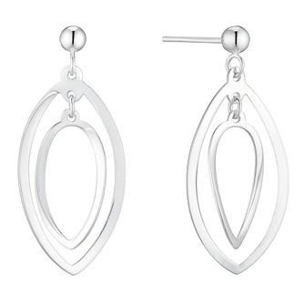 Silver Double Leaf Drop Earrings - Product number 4819098