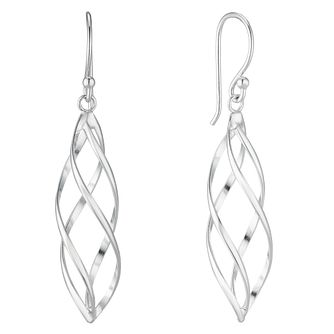 Silver Crossover Cage Drop Earrings - Product number 4819136