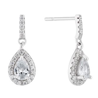 Silver Cubic Zirconia Teardrop Drop Earrings - Product number 4819152