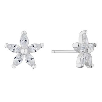 Silver Cubic Zirconia Flower Stud Earrings - Product number 4819179