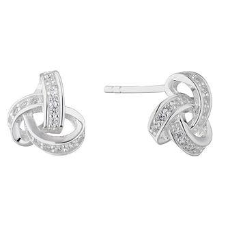 Silver Cubic Zirconia Knot Stud Earrings - Product number 4819187
