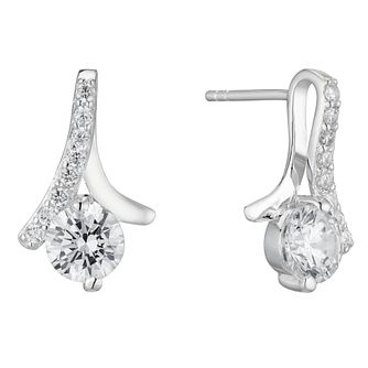 Silver Cubic Zirconia Loop Stud Earrings - Product number 4819195