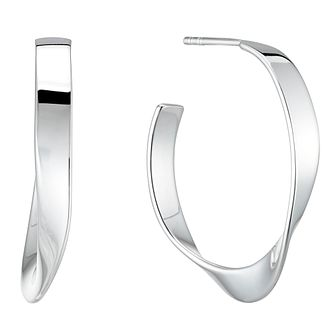 Sterling Silver Rhodium Plated Twist 24mm Hoop Earrings - Product number 4819209