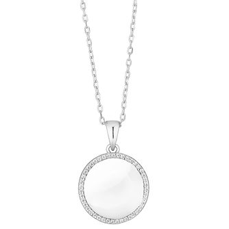 Silver Cubic Zirconia Circle Pendant Necklace - Product number 4819233