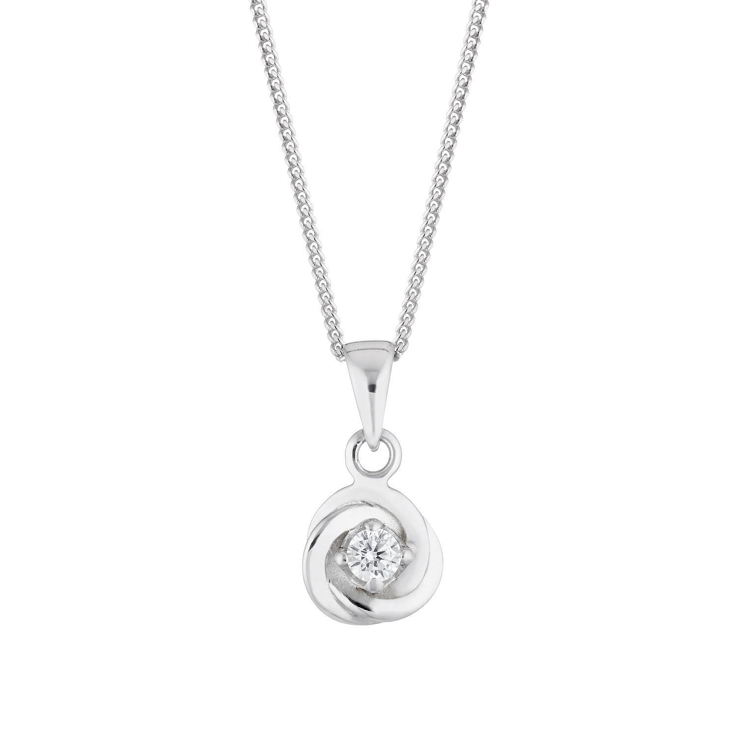 Silver Cubic Zirconia Knot Pendant - Product number 4819276